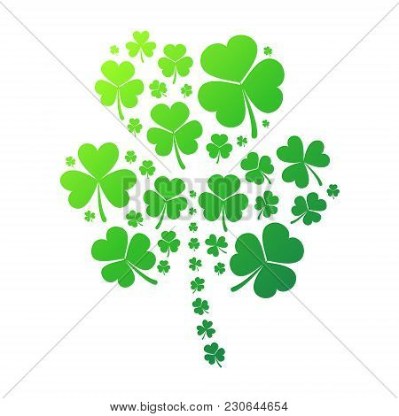 Shamrock Vector Concept Illustration. Clover Symbol Made Of Small Shamrock Icons