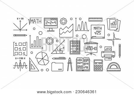 Mathematics Vector Thin Line Banner. Vector Linear Education And Science Concept Banner On White Bac