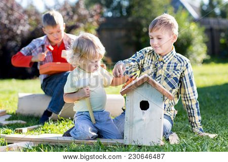 Family Brothers Making Wooden Birdhouse By Hands. Kid Teenager Teaches His Younger Brother.
