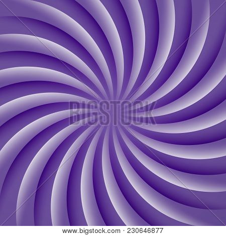 Ultra Violet And White Rotating Hypnosis Spiral. Optical Illusion. Hypnotic Psychedelic Vector Illus