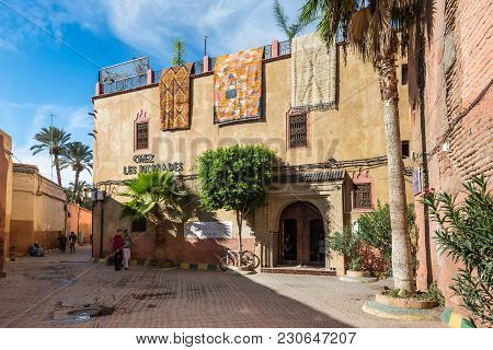 Marrakesh, Morocco - December 8, 2016: Beautiful Street And Largest Carpet Shop Chez Les Nomades In