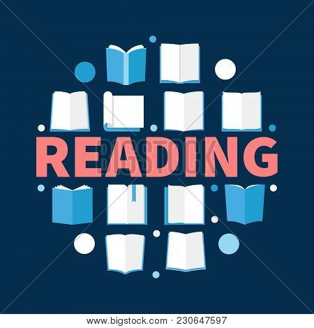 Reading Round Vector Illustration Made With Flat Book Icons On Dark Blue Background