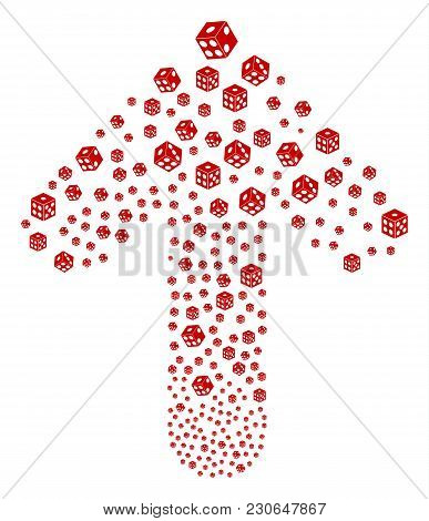 Dice Pattern Composed In The Shape Of Upwards Movement Arrow. Forward Directional Arrow Shape Create
