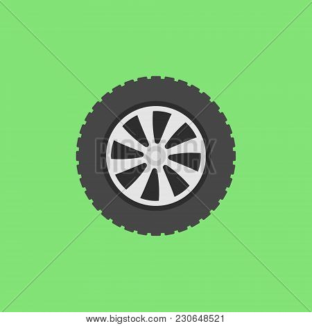 Vector Flat Car Wheel Icon Or Logo Element On Green Background