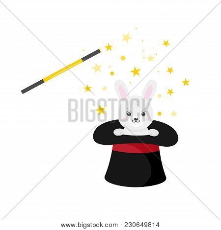 Magician Hat With Rabbit And Magic Wand.white Background. Cartoon Style. Vector Illustration