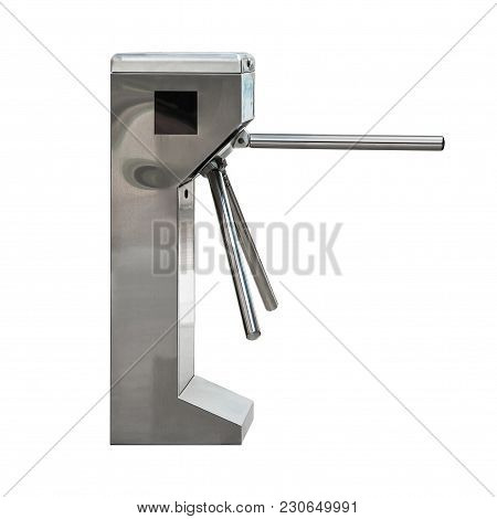 Entrance Or Exit Turnstile Tripod And Ticket Reader Isolated On White Background With Clipping Path
