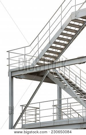 Fire Escape Isolated On White Background With Clipping Path