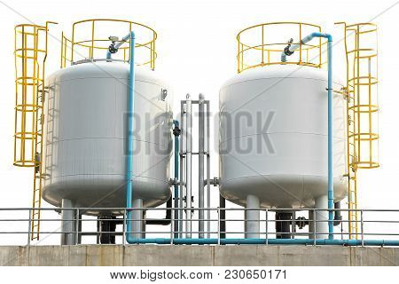 Industrial Liquefied Petroleum Gas Storage Tank And Pipeline Isolated On White With Clipping Path