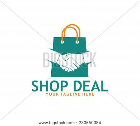 Hand Shake Online Shop Vector Logo Design