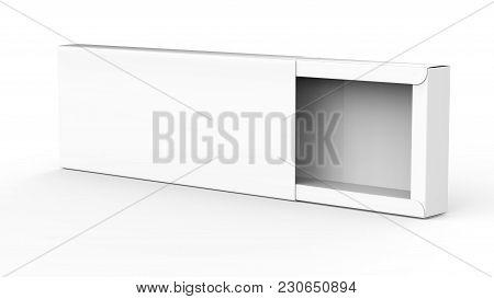 Blank Paper Box, 3d Render Rectangle Gift Box Mockup, Half Open Box