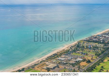 Aerial View Of Beautiful Ocean Coastline With Sandy Beaches And Waterfront Property. Glenelg Suburb
