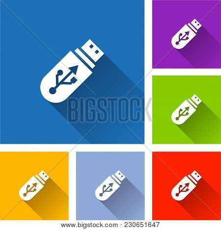 Illustration Of Flash Drive Icons With Shadow