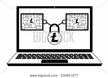 Litecoin Block Chain Technology In The Laptop   ,disign Concept  Black And White With Security Lock