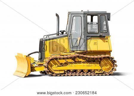 Excavator Backhoe Isolated On White Background With Clipping Path