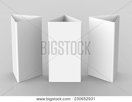 Blank Table Tent, 3d Render Table Card Set Mockup For Design Uses, Triangular Paper Card For Busines