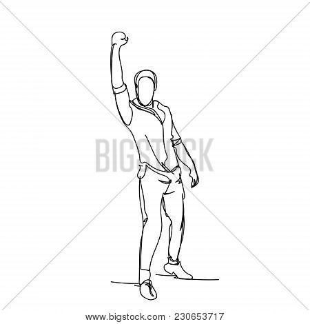 Cheerful Business Man Holding Hand Raised Male Silhouette Sketch On White Background Vector Illustra