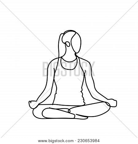 Joga Pose Silhouette Sketch Woman On White Background Healthy Lifestyle Concept Vector Illustration