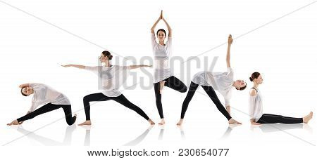 Set Of Young Woman Doing Yoga In Different Positions. Isolated On White Background.
