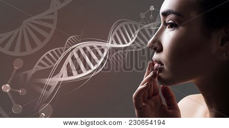 Young Sensual Woman With Vitiligo Disease In Dna Chains. Over Beige Background.