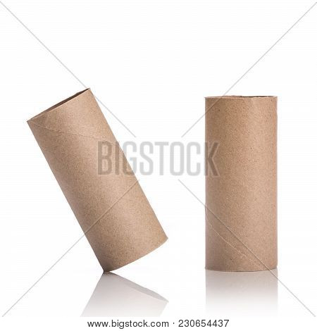 Brown Paper Roll. Studio Shot Isolated On White