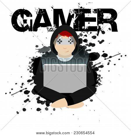 Gamer Black Player White Background Vector Image