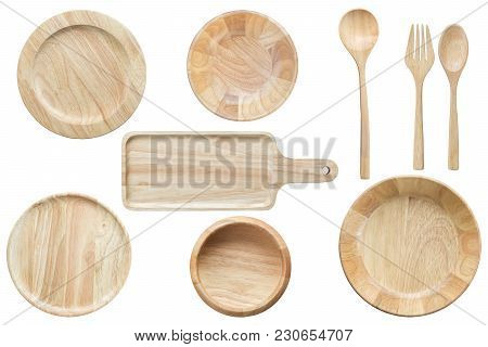 Set Of Bright Empty Wooden Bowl And Kitchenware Isolated On White Background. Saved With Clipping Pa
