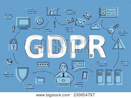 Gdpr Concept, Vector Illustration. General Data Protection Regulation. The Protection Of Personal Da