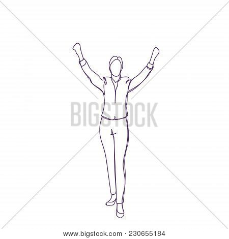 Cheerful Business Person Holding Hands Raised Female Or Male Silhouette Sketch On White Background V