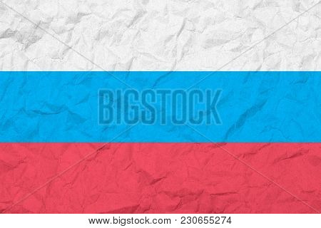 Flag Of Russian Federation. Vintage Style. Old Wall Texture. Faded Background.