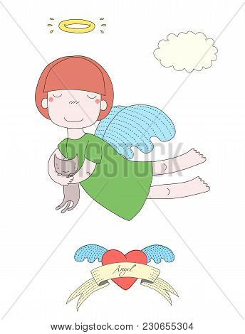 Hand drawn vector illustration of a cute little angel girl with halo, holding kitten, with winged heart and text Angel on a ribbon. Isolated objects on white background. Design concept for children. poster