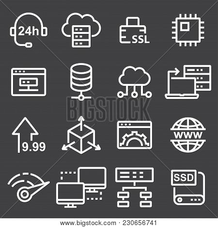 Thin Line Icons Set Of Hosting And Cloud Computing Networks Concepts. Internet, Server, Network Icon