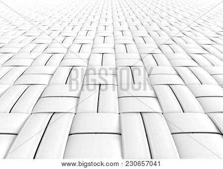 Blank Microfiber Surface, White Fiber Textile And Structure In 3d Render, Basket Weave
