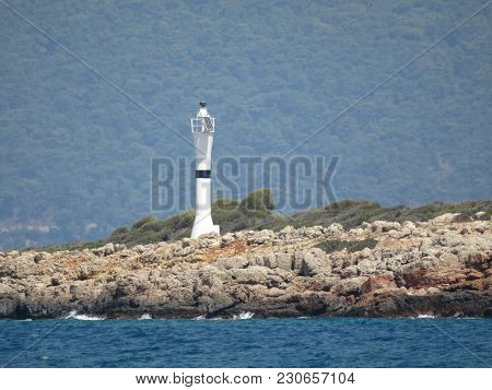 Lighthouse On Sedir (cleopatra) Island In The Aegean Sea, Turkey