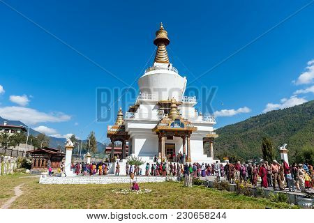 Bhutan, Thimphu - October 2010: The Memorial Stupa, also known as Thimphu Chorten. The stupa is a prominent landmark in Thimphu with its golden spires and bells.