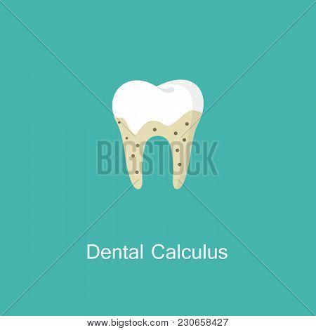 Dental Calculus With Bacteria Image. Tartar Or Calculus Teeth Flat Vector Icon. Dental Concept. Medi