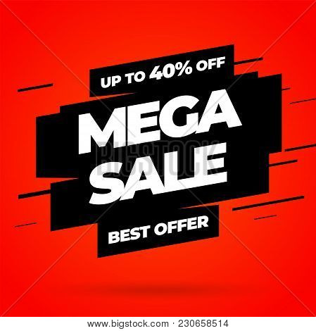 Red Sale Banner Template Design, Mega Sale Special Offer. End Of Season Special Offer Banner. Vector