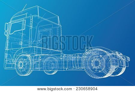 Eurotruck Isolated On White Background. Eurotrucks Delivering Vehicle Layout For Corporate Brand Ide