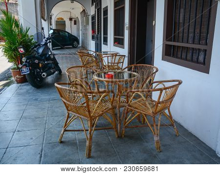 George Town, Malaysia - Mar 10, 2016. Wooden Chairs Of Coffee Shop In George Town, Malaysia. George