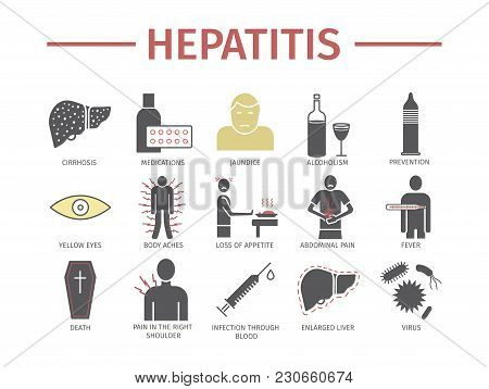 Hepatitis Icon Infographics. Symptoms, Treatment. Vector Signs For Web Graphics