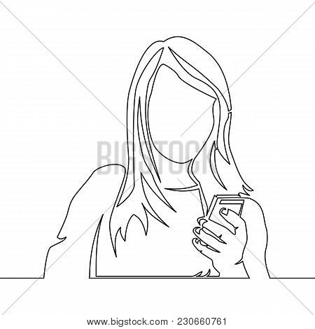 One Continuous Line Drawing Of Woman Reading Smartphone Vector Illustration