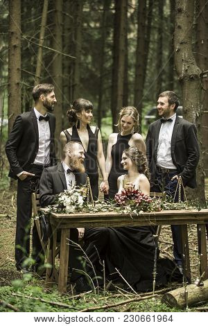 Married And The Witnesses At The Marriage Ceremony In The Woods
