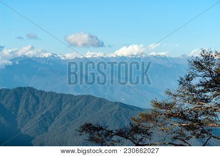 Sunset On Himalaya Peaks From Dochula Pass - Bhutan