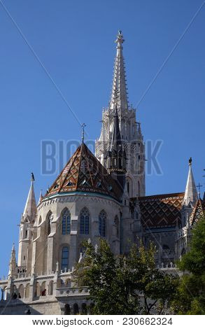 BUDAPEST, HUNGARY - OCTOBER 15: Church of St. Matthias near the fisherman bastion in Budapest, Hungary, on October 15, 2017.