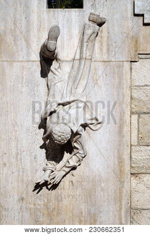 BUDAPEST, HUNGARY - OCTOBER 15, 2017: Sculpture of the Young Mansfeld Peter, Hungarian schoolboy when he, at the age of 16, participated in the 1956 Revolution against the Soviet oppression.