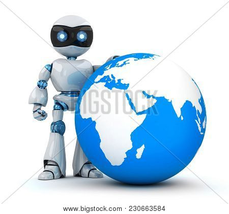 White Robot And Blue Earth. 3d Illustration