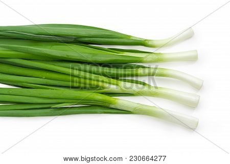 Top View Of The Several Washed And Peeled Stalks Of The Green Onion With Drops Of Water On A White B