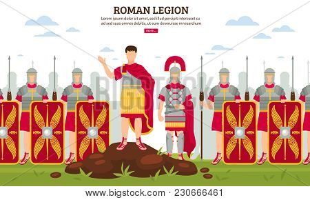 Ancient Rome Legionary Flat Webpage Banner With Army Infantrymen In Full Armor With Shields Vector I