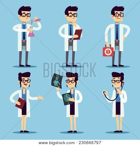 Male And Female Young Doctors Set. Vector Doctor Man And Woman, Medical Professional Surgeon Special