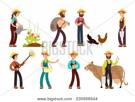 Happy Farmers With Agricultural Tools And Planting Vector Characters Set. Illustration Of Farming An