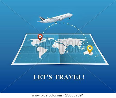 Travel By Airplane Realistic Composition On Blue Background With World Map And Flight Route, Vector